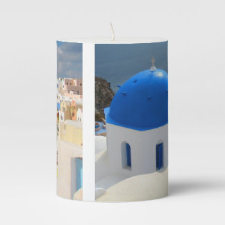 Santorini in the Afternoon Sun Pillar Candle