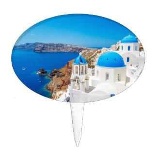 Santorini Island - Caldera, Greece Cake Topper