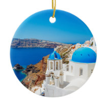 Santorini Island - Caldera, Greece Ceramic Ornament