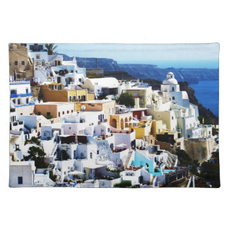 Santorini Island in Greece PHOTO Cloth Placemat