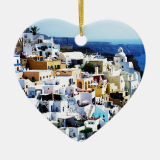 Santorini Island in Greece PHOTO Double-Sided Heart Ceramic Christmas Ornament