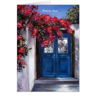 Santorini Island in Greece with blue front door Greeting Card