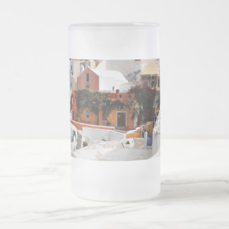 Santorini Island (Thira), Greece Frosted Glass Beer Mug