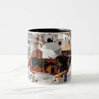 Santorini Island (Thira), Greece Two-Tone Coffee Mug