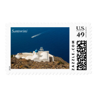 Santorini - little white church with blue dome postage stamp