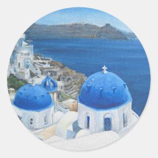 Santorini Oia oil painting Classic Round Sticker