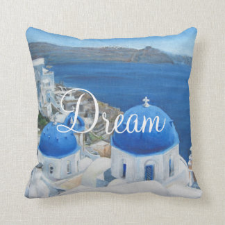 Santorini Oia oil painting Throw Pillow