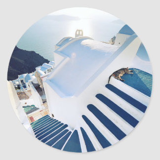 Santorini Oia Steps, Greece Classic Round Sticker