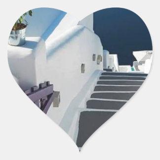 Santorini Oia Steps, Greece Heart Sticker