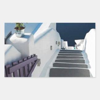 Santorini Oia Steps, Greece Rectangular Sticker