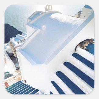 Santorini Oia Steps, Greece Square Sticker