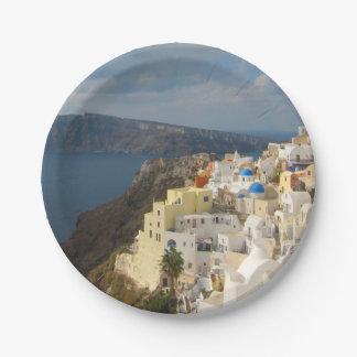 Santorini por la tarde Sun Platos De Papel