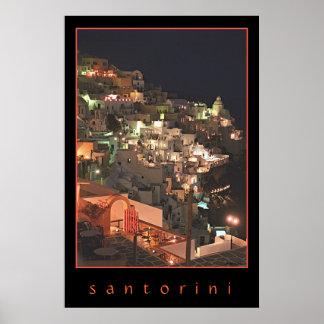 Santorini por noche poster