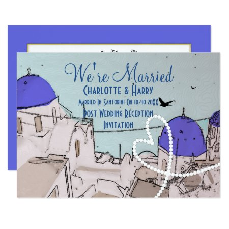 Santorini Post Wedding Celebration Party Card