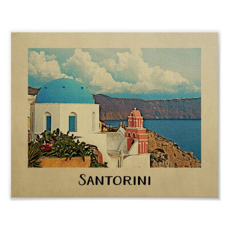 Santorini Poster Greece Vintage Travel Poster