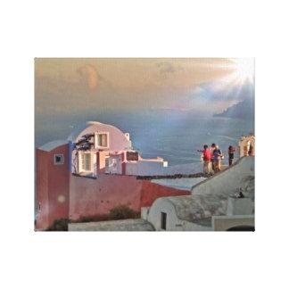 Santorini Sun Soaked Greek Holiday Island Canvas Print