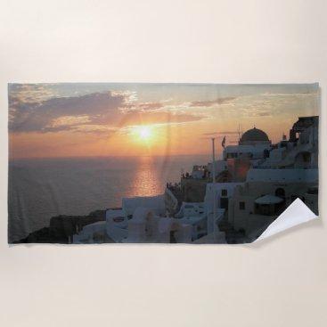 Beach Themed Santorini Sunset Beach Towel