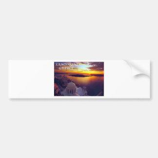 santorini sunset car bumper sticker