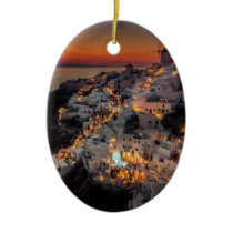 Santorini Sunset, Greece Ceramic Ornament