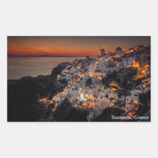 Santorini Sunset, Greece Rectangular Sticker