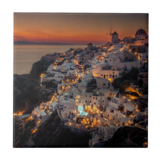 Santorini Sunset, Greece Tile