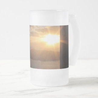 Santorini sunset through door frosted glass beer mug