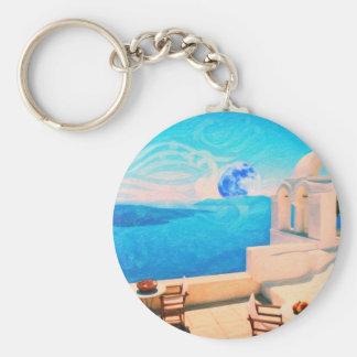 Santorini town Greece Keychains