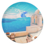 Santorini town Greece Melamine Plate