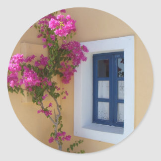 Santorini Window Classic Round Sticker