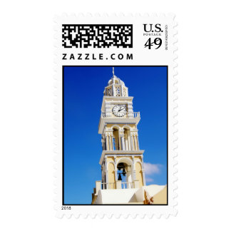 Santorini yellow church tower postage stamp
