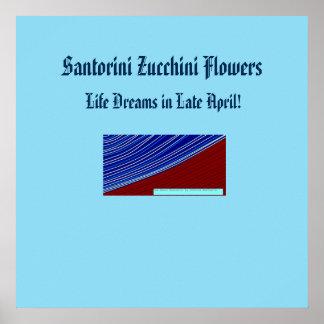 santorini zucchini flowers poster