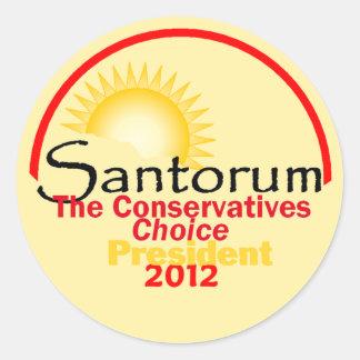 Santorum 2012 classic round sticker