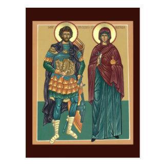 Santos Anastasia y tarjeta del rezo de Chrysogonus Postal