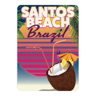 Santos beach brazil vintage travel poster card