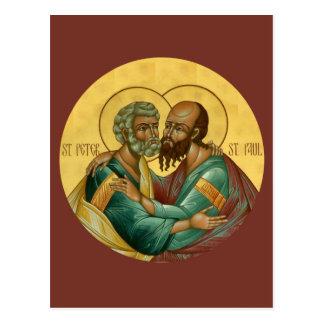 Santos Peter y tarjeta del rezo de Paul Postales