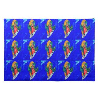 santos que practican surf en placemat azul de la manteles individuales