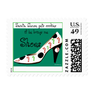 Sants Clause and Girls Who Love Shoes Postage Stamp