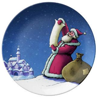 sants's list christmas holiday illustration porcelain plate