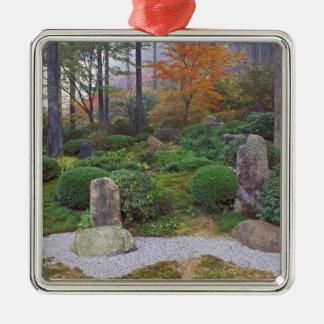 Sanzen-en el templo, Ohara, Kyoto, Japón 4 Adorno Cuadrado Plateado