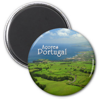 Sao Miguel green landscape 2 Inch Round Magnet