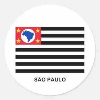 São Pablo, bandera que agita del Brasil Pegatina Redonda