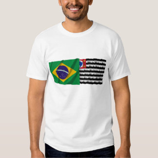 São Pablo y banderas que agitan del Brasil Polera