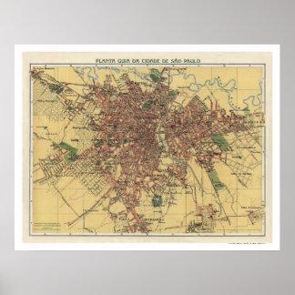 Sao Paulo Brasil Map 1913 Poster