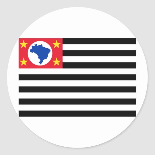 São Paulo, Brazil Flag Classic Round Sticker