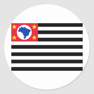 São Paulo, Brazil Flag Round Sticker