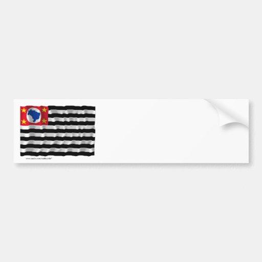 São Paulo, Brazil Waving Flag Car Bumper Sticker