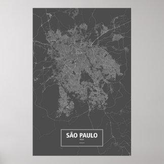 Sao Paulo, Brazil (white on black) Poster