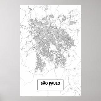 Sao Paulo, el Brasil (negro en blanco) Póster