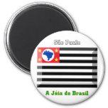 São Paulo Flag Gem 2 Inch Round Magnet