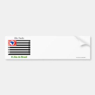 São Paulo Flag Gem Car Bumper Sticker